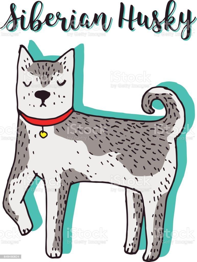 Ilustración De Lindo Perro Husky Siberiano Vector Dibujado A Mano