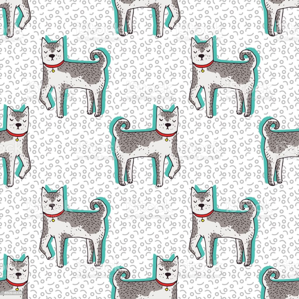 Cute Siberian Husky Dog Vector Seamless Pattern Kawaii Puppy Sketch