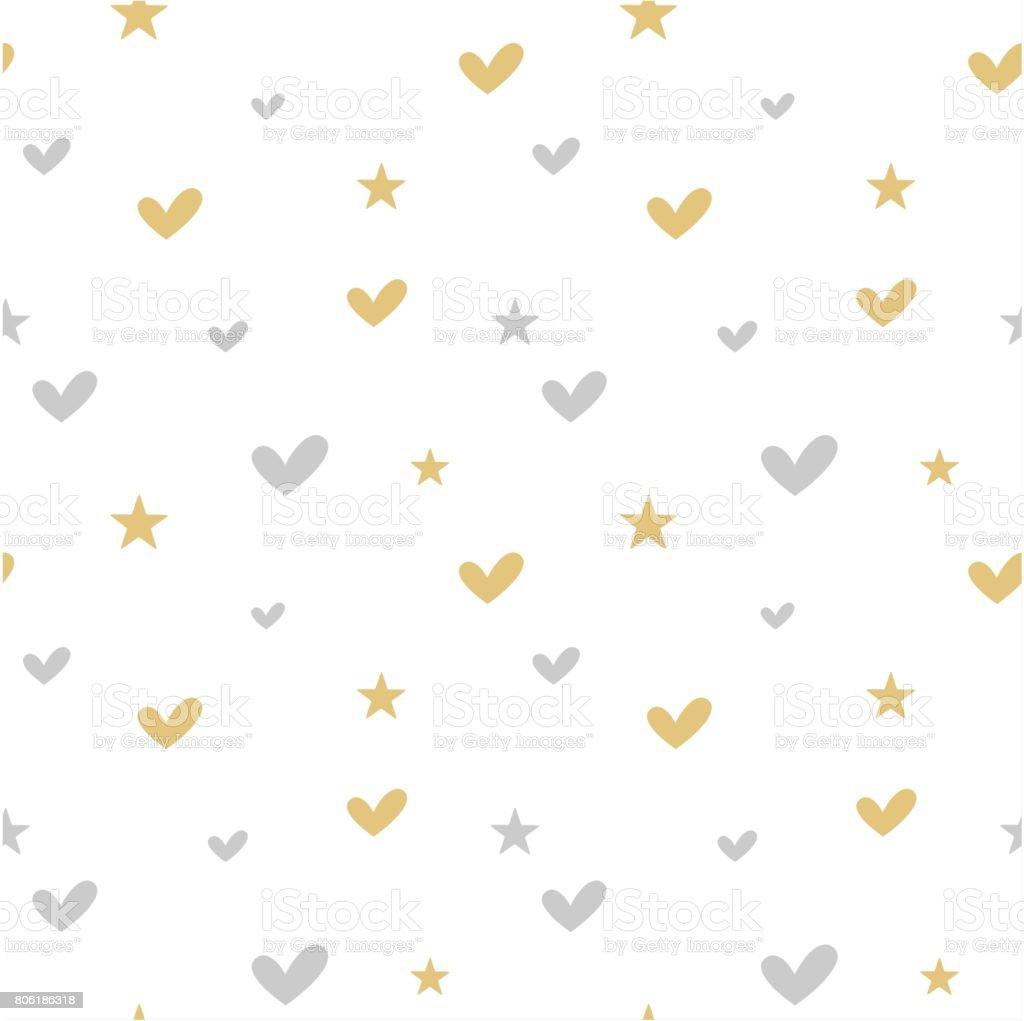 かわいい銀金ハートし星のシームレスなベクトル パターン背景イラストと