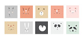 Cute simple animal portraits - hare, tiger, bear, sloth, cat, koala, fox, alpaca, panda, penguin. Great for designing baby clothes.flat style