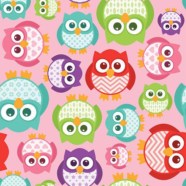 Cute Simple Cartoon Patterned Owls Seamless Tile vector art illustration