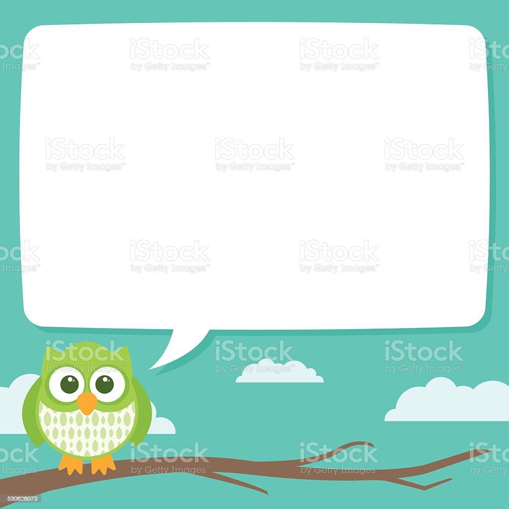 Cute Simple Cartoon Patterned Owls Speech Bubble vector art illustration