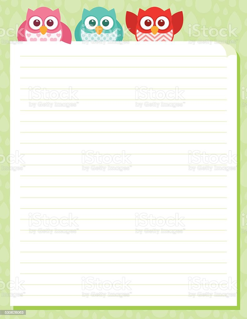 Cute Simple Cartoon Patterned Owls Stationery Template vector art illustration