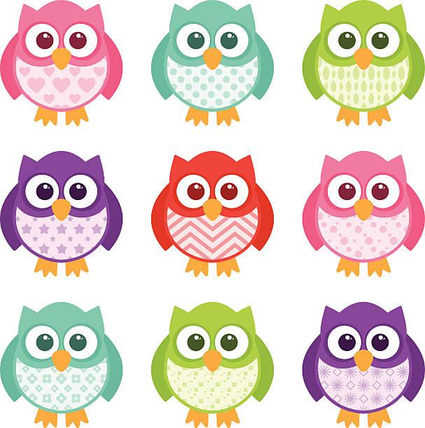 Cute Simple Cartoon Patterned Owls vector art illustration
