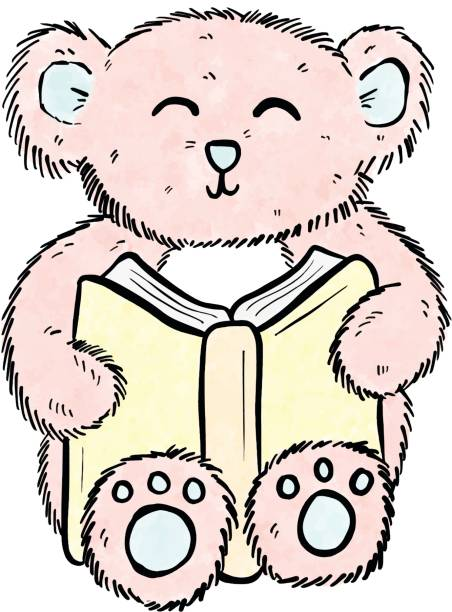 niedlichen cartoon einfach teddybär, ein buch zu lesen und lernen - puppenkurse stock-grafiken, -clipart, -cartoons und -symbole