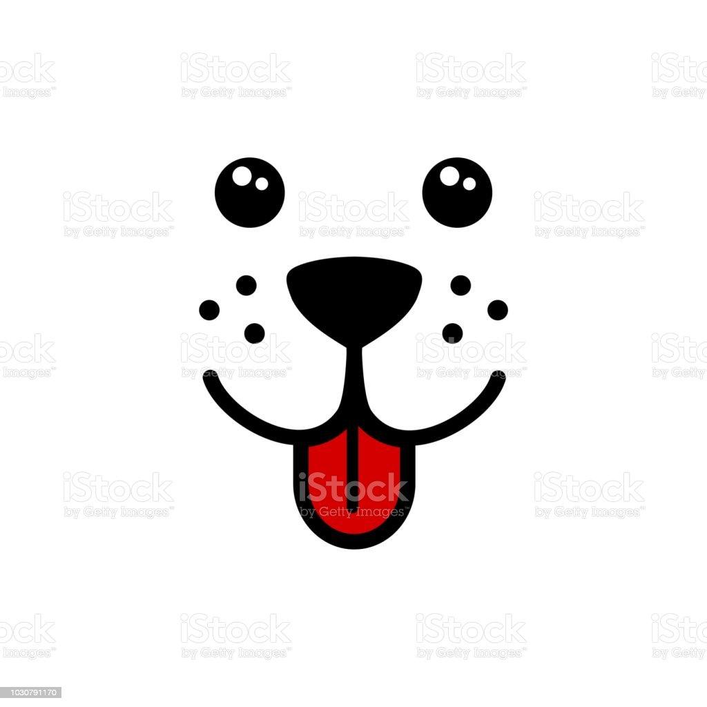 かわいいシンプルな犬の顔ベクトル - アイコンのベクターアート素材や