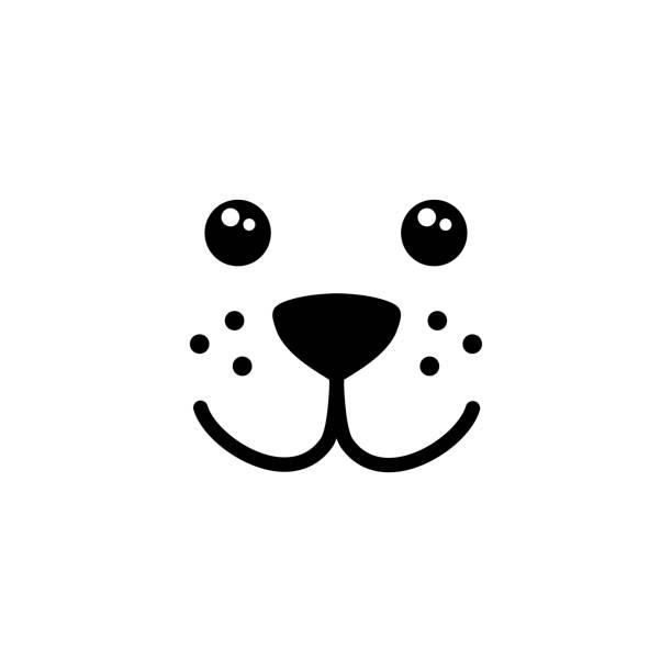 niedlich, einfach hund gesicht vektor - tierkopf stock-grafiken, -clipart, -cartoons und -symbole