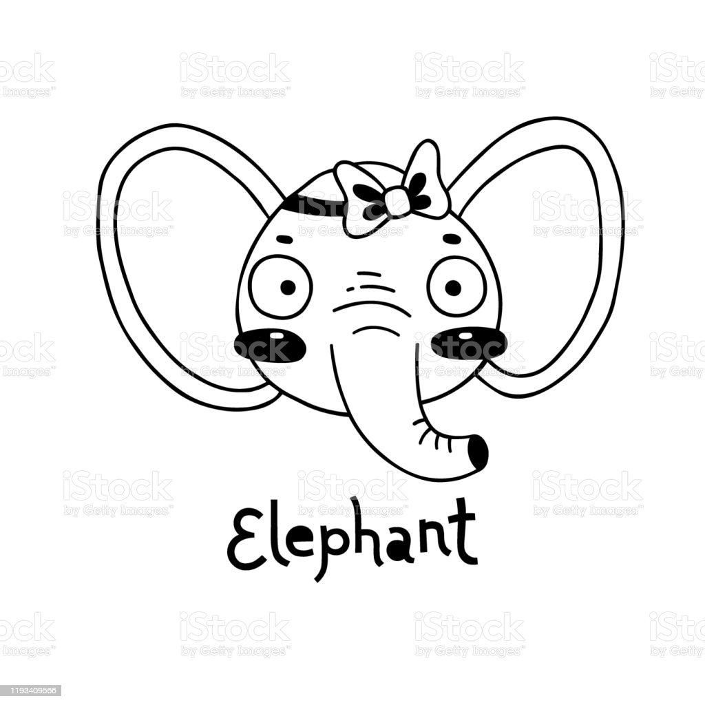 Cute Simple Elephant Face Cartoon Style Vector Illustration Stock Illustration Download Image Now Istock