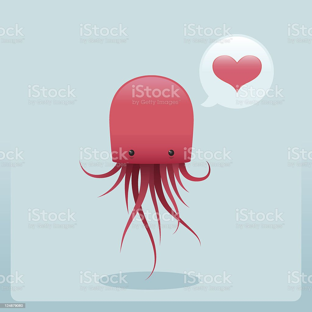 Cute Simple Jellyfish Character With Love royalty-free stock vector art