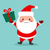 Cute simple Santa Claus vector cartoon icon illustration. Happy smiling chubby kawaii Santa standing holding a gift box with bow and waving. Christmas winter holiday design element for greeting cards