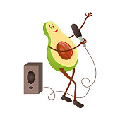 Cute singing avocado character with microphone and big speaker at city concert. Cartoon style. Vector illustration on white background