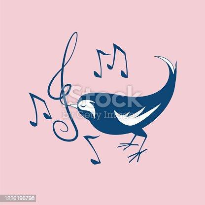 Cute vector cartoon singing black bird with music notation.