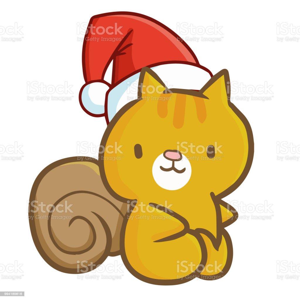 Niedliche Eichhörnchen Trägt Weihnachtsmütze Für Weihnachten Sitzen ...