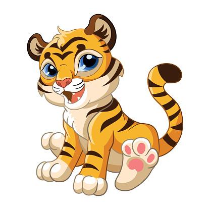 Cute sitting tiger cartoon character vector illustration