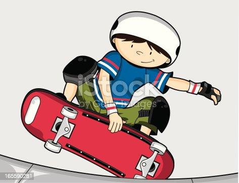 Cute Skateboarding Boy