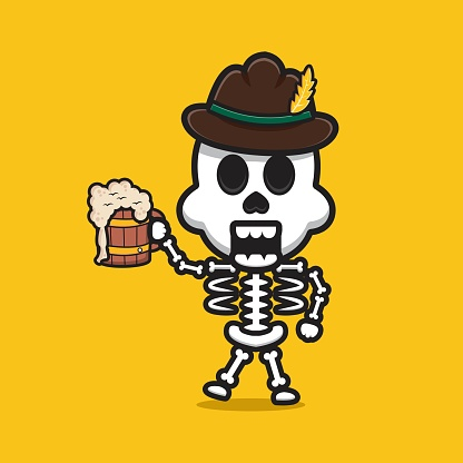 Cute skeleton celebrate oktoberfest cartoon icon illustration.