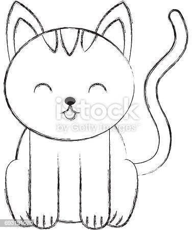 Niedliche skizze zeichnen katze cartoon stock vektor art for Fun to draw cat