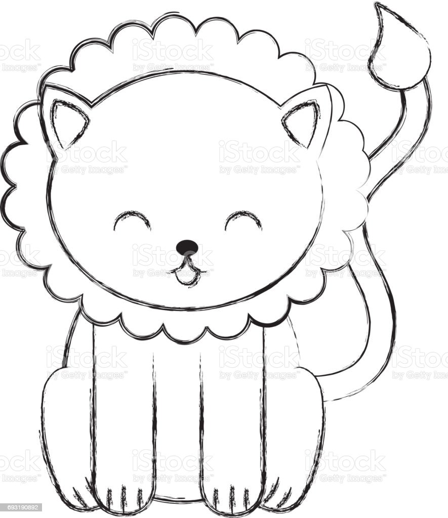 cute sketch draw lion cartoon royalty free stock vector art