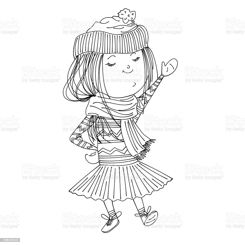 cute sketched wearing warm winter clothes stock vector art