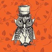 Cute carton hand drawn owl