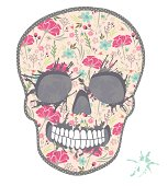 Cute skull with floral pattern.