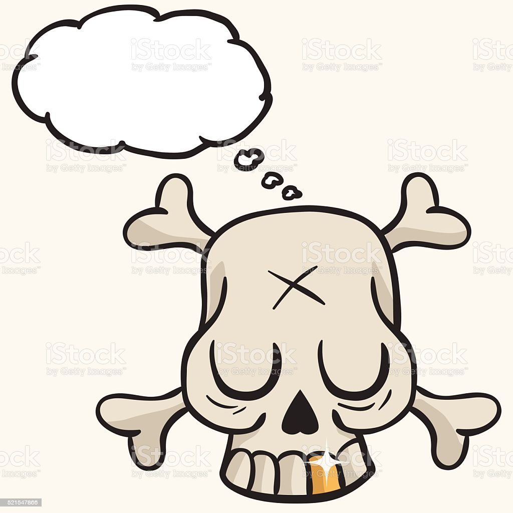 Cute Skull With Golden Tooth And Thought Bubble Stock Vector Art ...