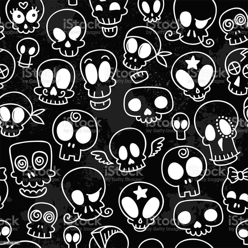cute skulls pattern vector art illustration
