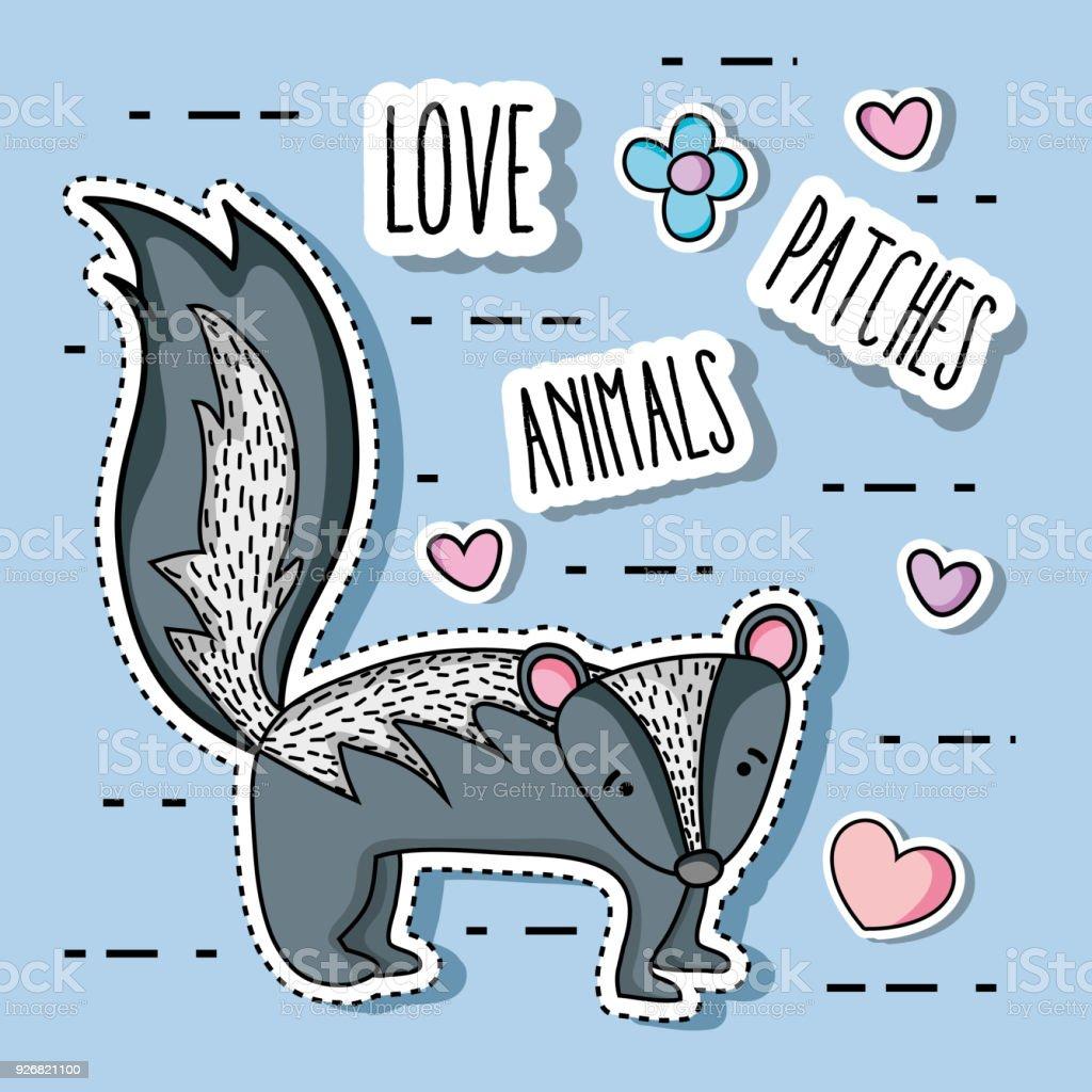 cute skunk animal patch sticker векторная иллюстрация