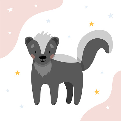 A cute skunk for children on a white background with stars. Cute animals for nursery.