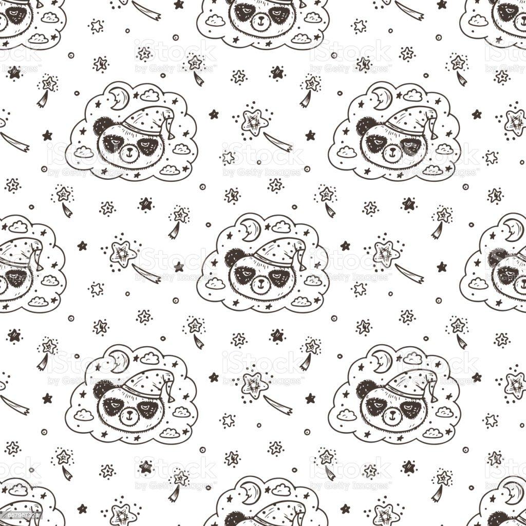 Ilustración de Lindo Dormitorio Bebé Panda Vector De Patrones Sin ...