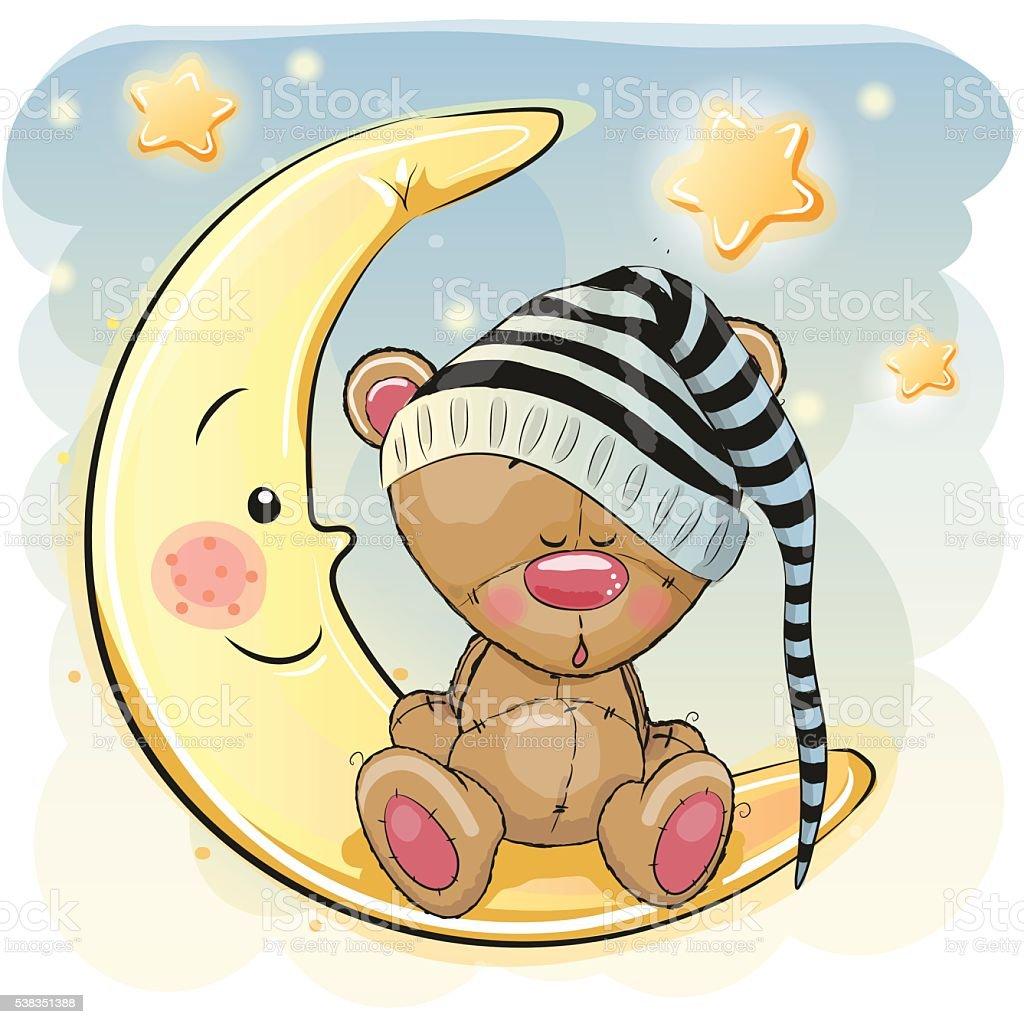 Cute Sleeping Bear vector art illustration