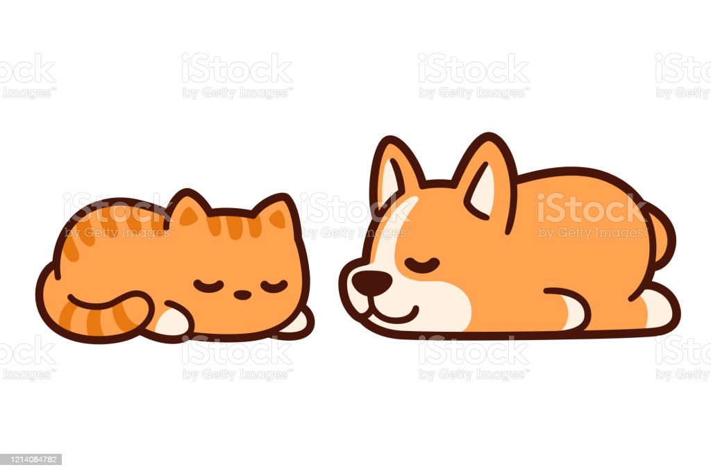 Cute Sleeping Cat And Dog Stock Illustration Download Image Now Istock