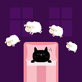 Cute sleeping cat kitten. Jumping sheeps. Cant sleep going to bed concept. Counting sheep. Blanket pillow room two windows. Animal set. Baby collection. Flat design. Violet background. Vector