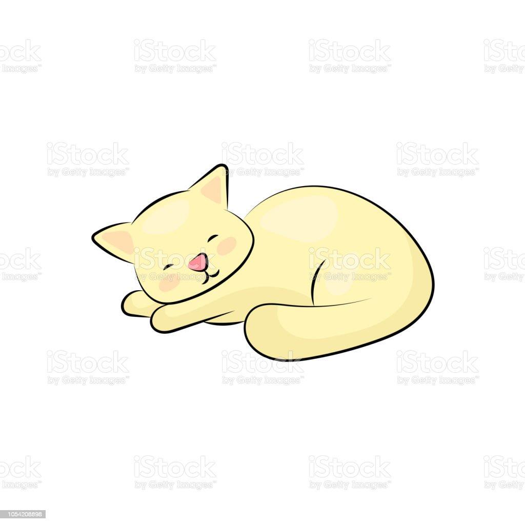 白い背景の上の眠っている猫脂肪黄色の子猫は夢を見るします怠惰な猫の
