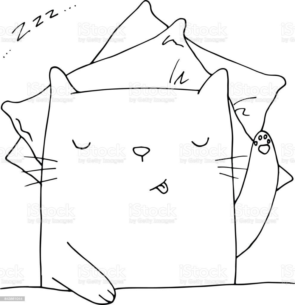 Ilustración de Lindo Vector De Gato Durmiendo Ilustración Dibujado A ...