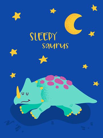 Cute Sleeping Dinosaurus for Poster Print, Baby Greetings Illustration, Dino Invitation, Children Dinosaur Store Flyer, Good Night Brochure, Book Cover in vector