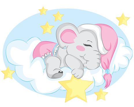 Cute sleeping little elephant on the cloud