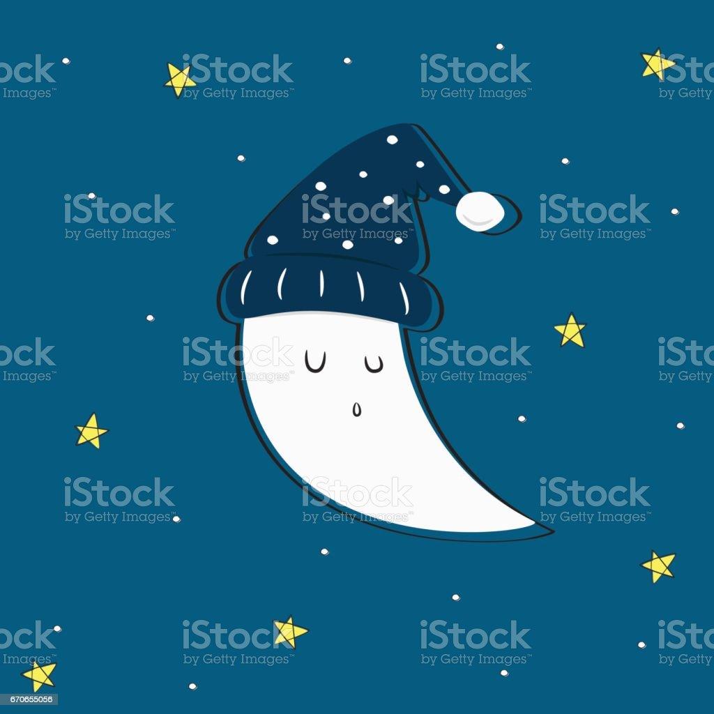 Mignon sommeil lune et étoiles Vector - Illustration vectorielle