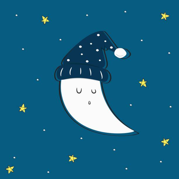 cute sleeping moon and stars vector - bedtime story stock illustrations