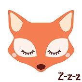 Cute sleepy fox. Vector animal.