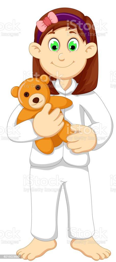 cute sleepy girl cartoon holding teddy bear cute sleepy girl cartoon holding teddy bear – cliparts vectoriels et plus d'images de blanc libre de droits