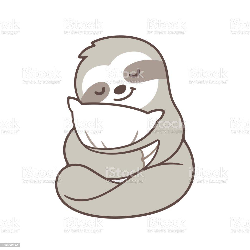Cute sleepy sloth vector art illustration
