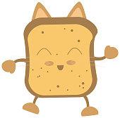 Cute Sliced Toast Cat Character Cartoon Vector Illustrations