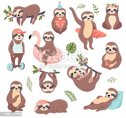 Cute sloth bear set, funny vector illustration for print, posters, sticker kit.