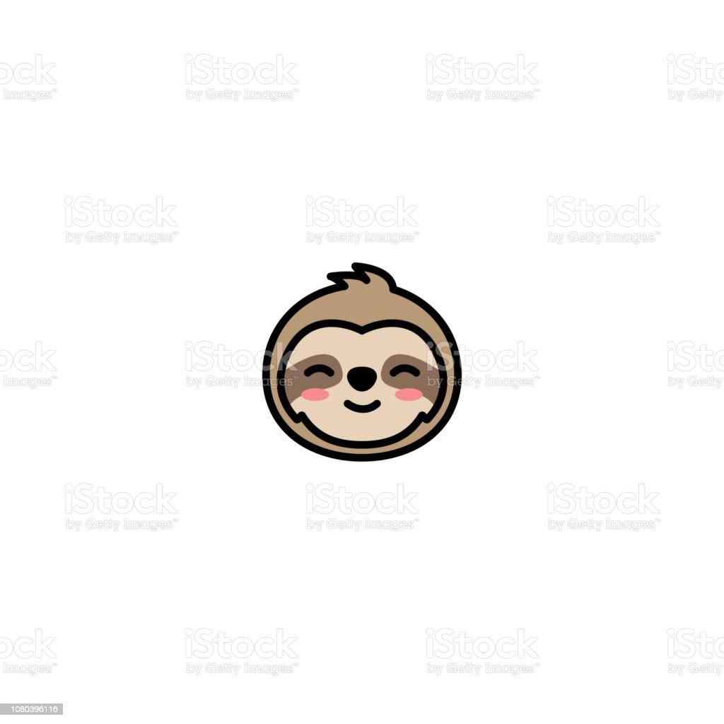 Icono de dibujos animados lindo perezoso cara, ilustración vectorial - ilustración de arte vectorial