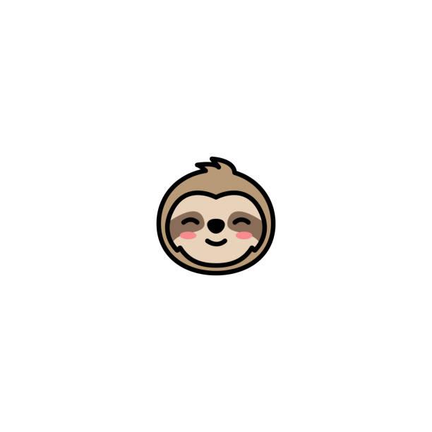 illustrations, cliparts, dessins animés et icônes de icône de dessin animé visage mignon paresseux, illustration vectorielle - emoji paresseux