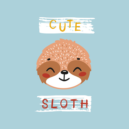 Cute Sloth Face. Funny Sloth Head for Tee Print Design for Kids. Vector Cartoon Baby Animal. Scandinavian Card, Print or Poster Design
