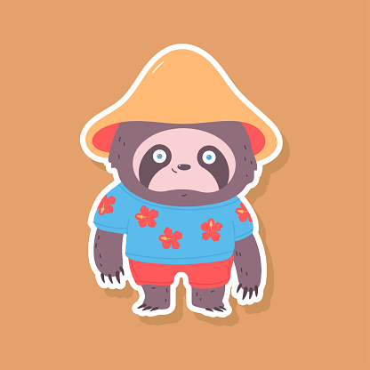 Cute sloth in hawaiian shirt and shorts vector sticker illustration isolated on background.