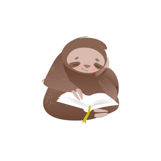 illustrations, cliparts, dessins animés et icônes de mignon paresseux s'asseyant et lisant le livre avec l'intérêt. - emoji paresseux