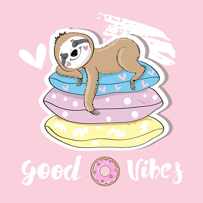 Cute sloth sleeps on multi-colored pillows and the inscription good vibes on a pink background. Vector illustration for children